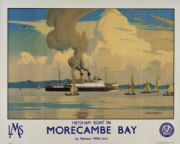 Morecambe Bay, Lancashire. Vintage LMS Travel poster by Norman Wilkinson